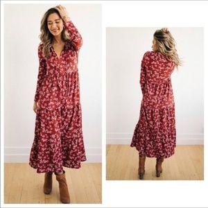 Free People Tiers Of Joy Plum Floral Midi Dress